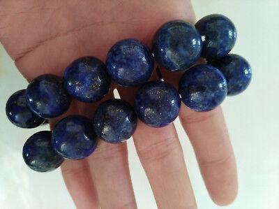 Chinese hand-made natural blue Lapis lazuli Round beads bracelets 16mm