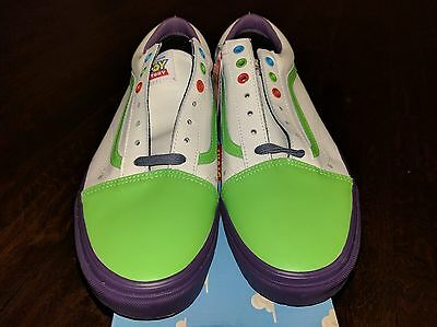 ... NEW Vans Old Skool Toy Story 4 Buzz Lightyear Land Shoes White Green  Purple RARE 4 46e63a8e1