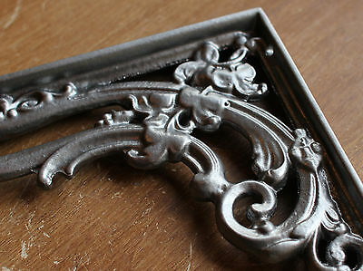 "Pair Pewter 8x6"" ANTIQUE HEAVY CAST IRON VICTORIAN SHELF WALL BRACKETS - BR07px2 5"