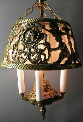 Antique Deco Spanish Egyptian Revival Figural Dragons Chandelier Light Fixture 6