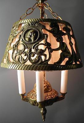Antique Deco Spanish Egyptian Revival Figural Dragons Chandelier Light Fixture 6