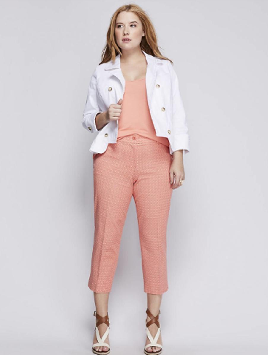 LANE BRYANT Printed Lena Lined Linen Crop Pants Women/'s Plus 22 24 White