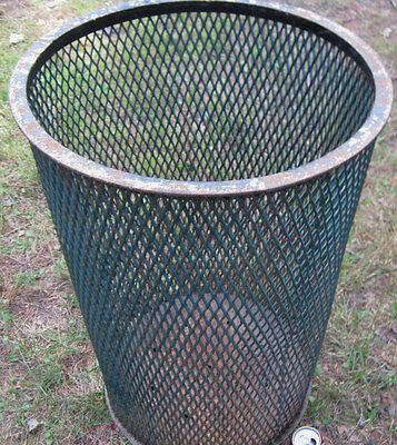 Antique Industrial City Park Steel Mesh Cast Iron Trash Can Waste Basket Hamper 2