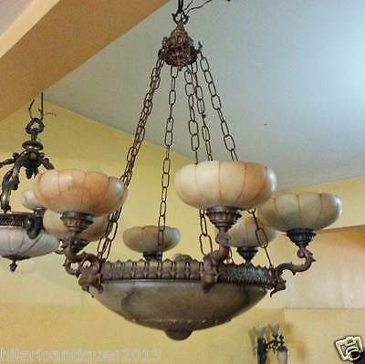 Marvelous Italian 1900 Bronze And Alabaster Ceiling Chandelier 110 H X 85 Cm 2