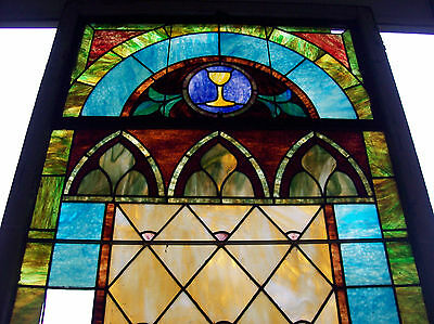 Stained glass window w/ flower and MIGHTY GOLDEN CHALICE #3 6