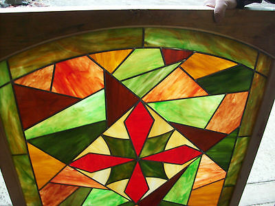 2 avail. Colorful Abstract Stained glass window w/ symetrical center (SG 1192) 2