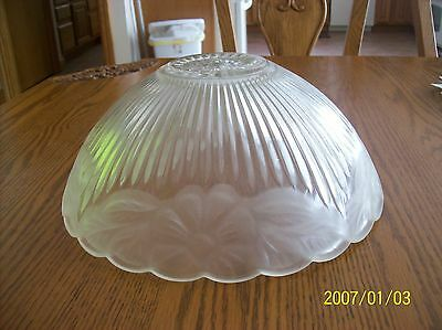 Glass Ceiling Shade 1930's Frosted Floral & Ribbed Design Scalloped Edge 6