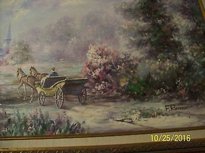 F. Raffaelli Signed Oil On Canvas Couple In Horse Drawn Wagon In New York Park 3