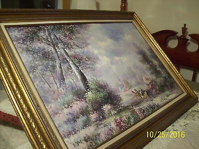 F. Raffaelli Signed Oil On Canvas Couple In Horse Drawn Wagon In New York Park 5