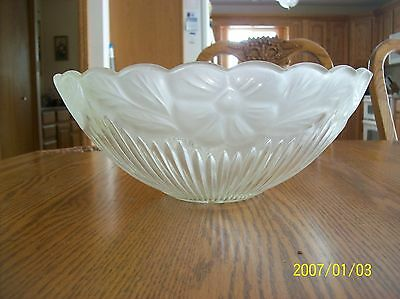 Glass Ceiling Shade 1930's Frosted Floral & Ribbed Design Scalloped Edge 11