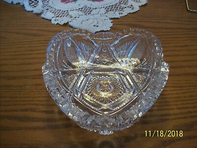 Imperial Glass Clear Vtg Sawtooth Strawberry Cut & Hob Star Serving Candy Dish 6