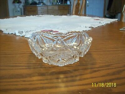 Imperial Glass Clear Vtg Sawtooth Strawberry Cut & Hob Star Serving Candy Dish 8