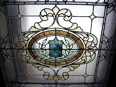 Very nice ornate stained and text glass window sky tone  (SG 1562) 2