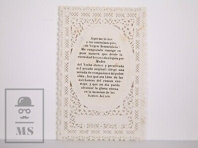 Antique Paper Lace Holy Card - Immaculate Conception / Virgin Mary 2