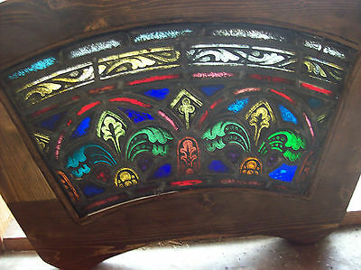 2 arched top and bottom dual fleur de lis Stained glass window (SG 1439) 2