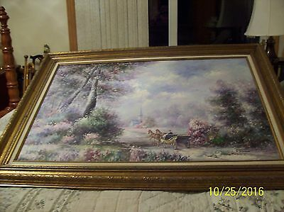 F. Raffaelli Signed Oil On Canvas Couple In Horse Drawn Wagon In New York Park 9