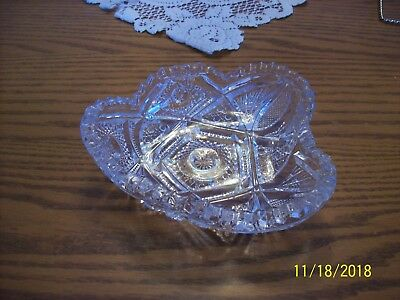 Imperial Glass Clear Vtg Sawtooth Strawberry Cut & Hob Star Serving Candy Dish 2