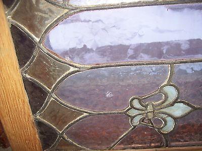 Interesting vibrant fleur de lis window stained glass  (Sg 1531)
