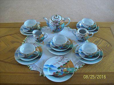 Soko Japan Hand Painted Vintage Porcelain China 19 Piece Geisha Girl Tea Set