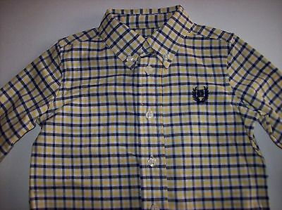 Chaps Shirt Size 12 Mos Plaid Navy Yellow White Infant Baby Boy Logo Casual NWT 2