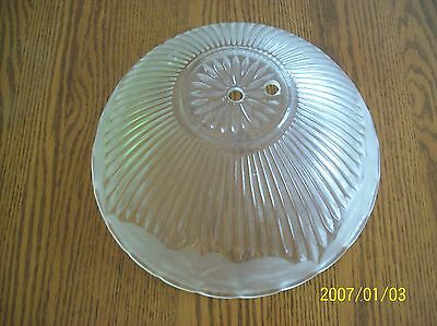Glass Ceiling Shade 1930's Frosted Floral & Ribbed Design Scalloped Edge 5