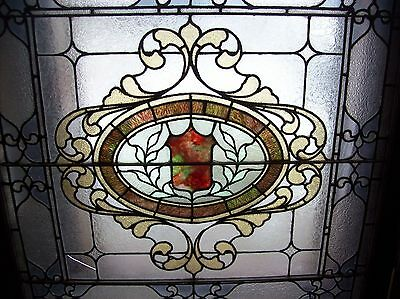 Very nice ornate stained and text glass window earth tone  (SG 1563) 2