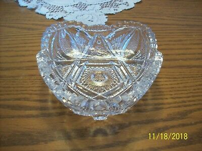 Imperial Glass Clear Vtg Sawtooth Strawberry Cut & Hob Star Serving Candy Dish 7