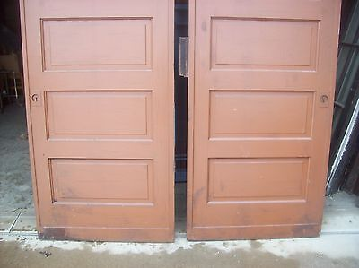 Painted raised panel pocket door set with tracking  (D JER3)