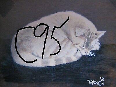 "C179  Original Acrylic Painting By Ljh  ""Teddy ""  British Shorthair  Cat  Kitten 5"
