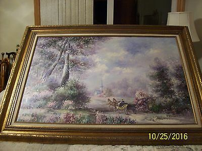 F. Raffaelli Signed Oil On Canvas Couple In Horse Drawn Wagon In New York Park 4