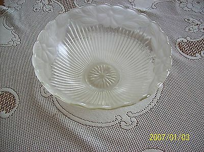 Glass Ceiling Shade 1930's Frosted Floral & Ribbed Design Scalloped Edge 3