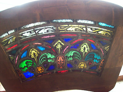 2 arched top and bottom dual fleur de lis Stained glass window (SG 1439)