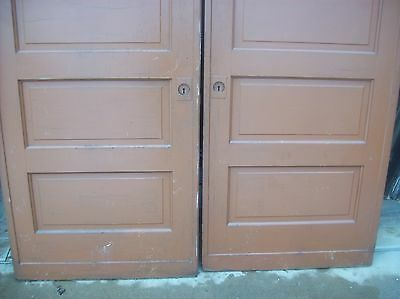 Painted raised panel pocket door set with tracking  (D JER3) 3