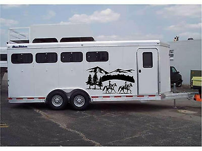 "Running Horses Vinyl Decal Stickers Horse Trailer Truck 10x20/"" Set of 2"