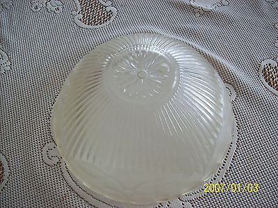 Glass Ceiling Shade 1930's Frosted Floral & Ribbed Design Scalloped Edge 2