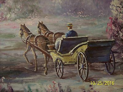 F. Raffaelli Signed Oil On Canvas Couple In Horse Drawn Wagon In New York Park 7