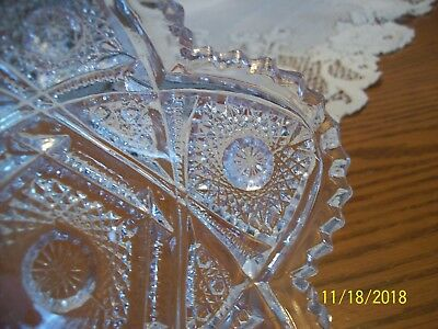 Imperial Glass Clear Vtg Sawtooth Strawberry Cut & Hob Star Serving Candy Dish 5