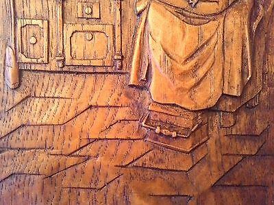 Antiguo Cuadro En Relieve Tallado A Mano Con Bonita Escena Rústica