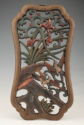 Unique Chinese Wood Pendant Hollow Out Hand Carved Exquisite Flower Bird 2