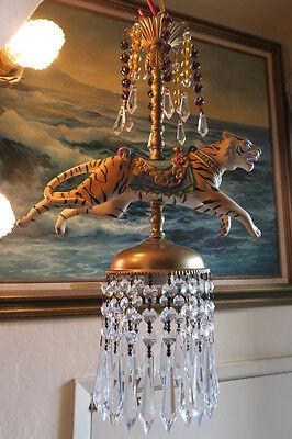 ... Porcelain Tiger Carousel Lamp SWAG Chandelier Vintage Amethyst Beads  Crystal