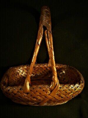 Antique Old Japanese signed Japan IKEBANA Woven Intricate Asian BASKET 4