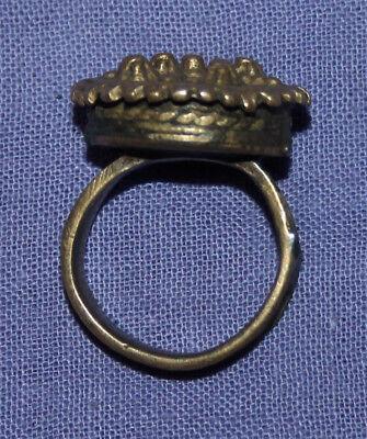 Antique Medieval crusader bronze ring 9