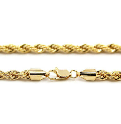 """14k Gold plated rope chain men's women's 24"""" inches necklace free shipping new 4"""