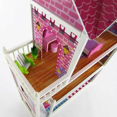 3 Storey Large Mansion Kids Girl Wooden Doll House Pink Dollhouse Furniture 18pc 3