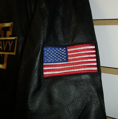 U.S. NAVY Leather Jacket sz Small /XS Black double sided $150 Armed Forces Coat 6