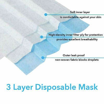 100 PCS Face Mask Medical Surgical Dental Disposable 3-Ply Earloop Mouth Cover 4