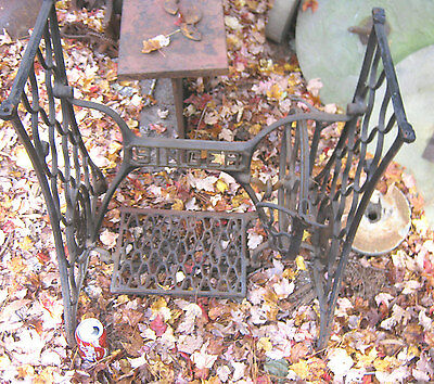 Antique Singer Sewing Machine Cast Iron Patio Plant Garden Marble Table Stand Us 2