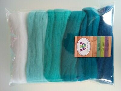 Turquoise set* Pure Merino Wool Needle and Wet Felting packs of 30, 60 or 90 g 3
