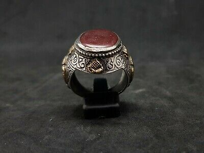 Old Yemani Agate Stone Solid Silver And Gold Plated Unique Ring #H76 3