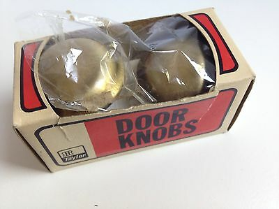 Vintage TAYLOR Brass Plated Door Knob NEW OLD STOCK Orig. Box 9